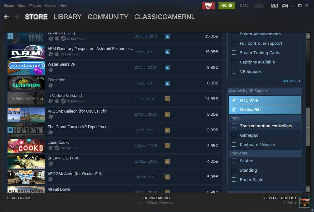 Steam lists supported virtual reality headsets