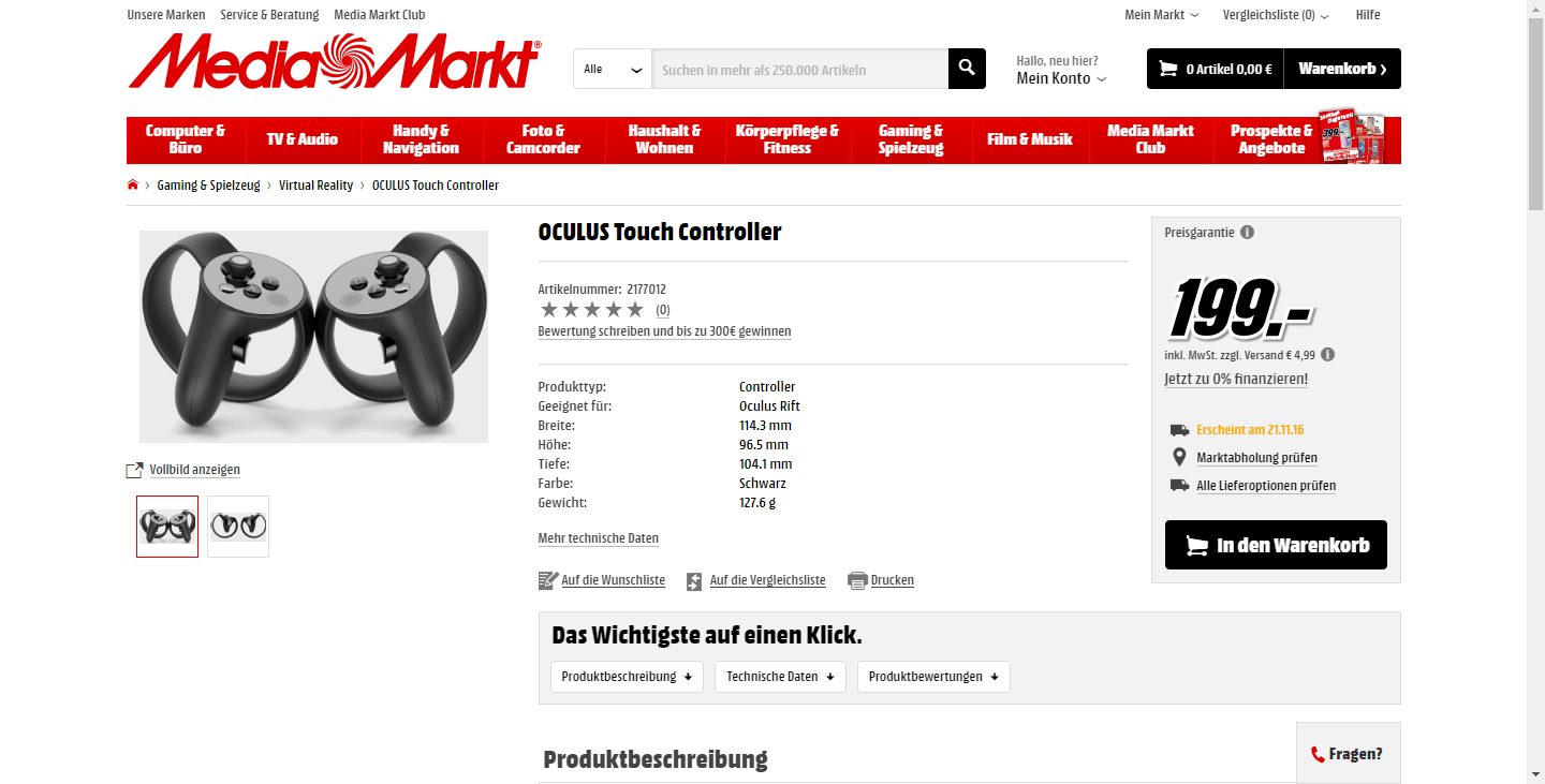 OCULUS Touch Controllers appear in German Media Markt webshop – VR Bites b99be52092