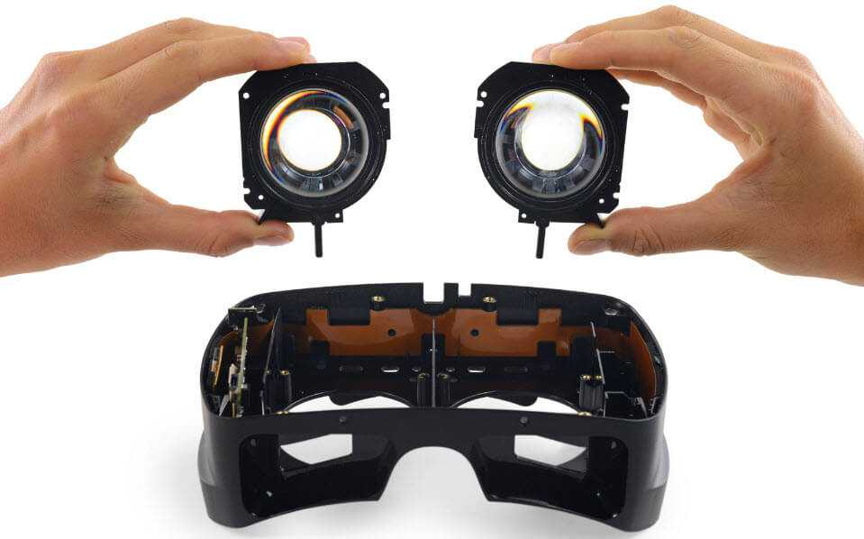 Photo of the HDK2 lenses taken by iFixit.